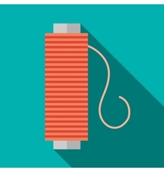 Bobbin of red thread icon flat style vector