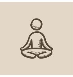 Man meditating in lotus pose sketch icon vector
