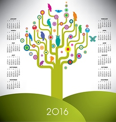 A playful and colorful tree calendar for 2016 vector