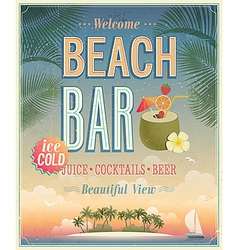 Beach bar sunset vector