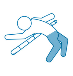 blue line pictogram man practice pole vault sport vector image