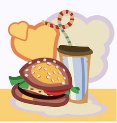 burger drink with vector image vector image