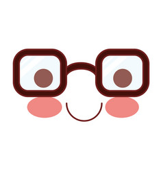 caricature glasses with calm expression in vector image