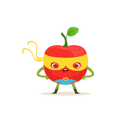 Cartoon character of superhero apple with arms vector