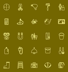 Diy tool yellow line icons vector