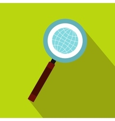 Earth with magnifying glass search icon flat style vector image