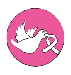 Emblem dove with breast cancer symbol in the beak vector