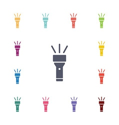 Flashlight flat icons set vector