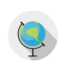Flat design concept globe icon with long sha vector