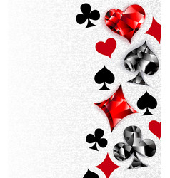 gray background with polygonal playing cards vector image