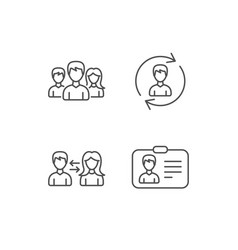 Group teamwork and id card icons vector
