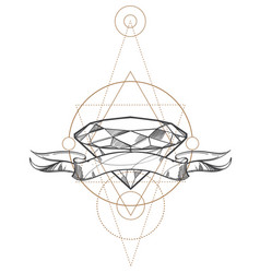 Hand drawn diamond and ribbon outline isolated on vector