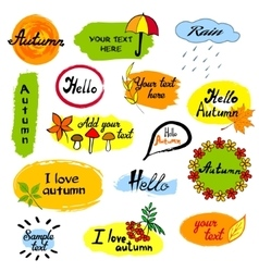 Hello autumn seasonal greeting badge template vector