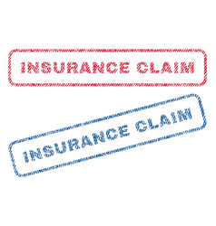 Insurance claim textile stamps vector