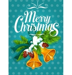 Jingle bell with fir branch christmas card design vector