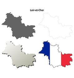 Loir-et-cher centre outline map set vector