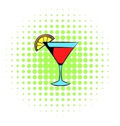 Martini glass with red cocktail icon comics style vector image