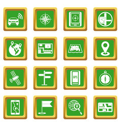 Navigation icons set green vector