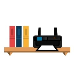 Office bookcase with printer isolated icon design vector