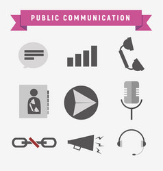 Public communication icon set vector