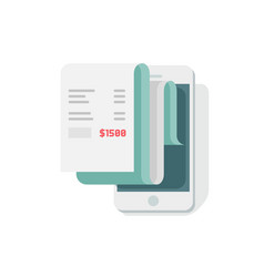 Receipt in smartphone flat vector