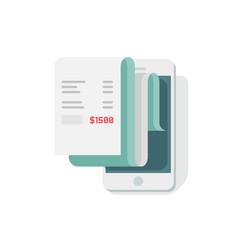 receipt in smartphone flat vector image