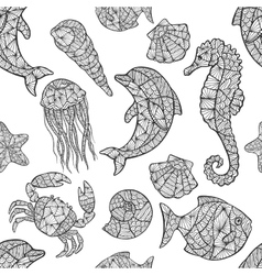 Seamless pattern on the marine theme vector image vector image