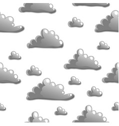 Seamless pattern with cartoon grey clouds on vector