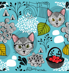 Seamless pattern with smart cats in doodle style vector