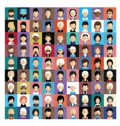 Set of people icons in flat style with faces 02 b vector