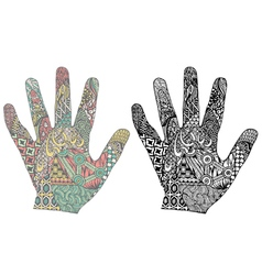 silhouette hand with patterns vector image vector image