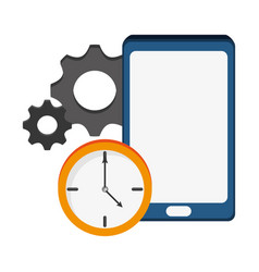 Smartphone clock gear technology vector
