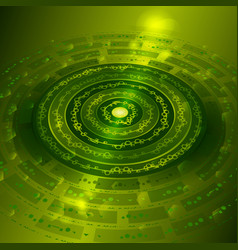 techno background with metal gears in green color vector image vector image