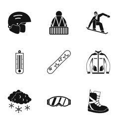 Vacation in mountains icons set simple style vector
