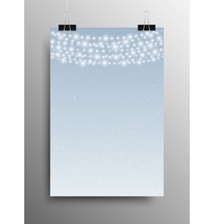Vertical poster snow garland christmas new year vector