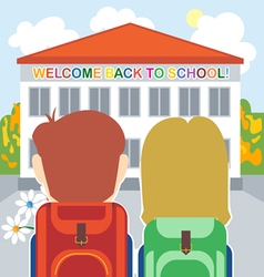 Welcome back to school card with a boy a girl and vector image vector image