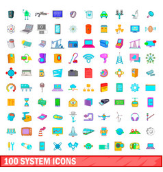 100 system icons set cartoon style vector