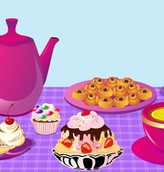Cupcake tea party vector