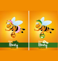 Flying honey bee cartoon with flowers vector