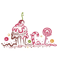 Muffin cake sweets candy vector