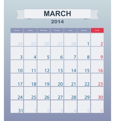 Calendar to schedule monthly march 2014 vector