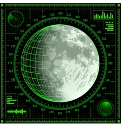 Radar screen with Moon vector image