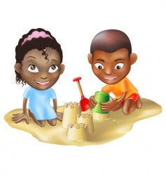 Ethnic children on beach vector