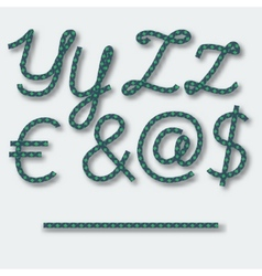 Letters y z and symbols dollar  euro  - vector