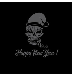 skull with a cracker in his mouth and a Santa vector image
