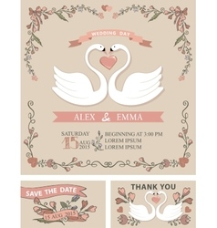 Vintage wedding invitation setswansfloral decor vector