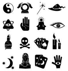 Fortune teller icons set vector