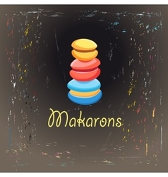 Colorful cakes makarons vector