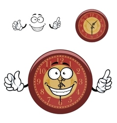 Cartoon wall clock with hands vector