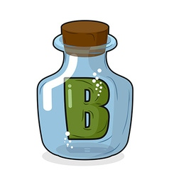 Letter b in laboratory bottle letter in a magic vector